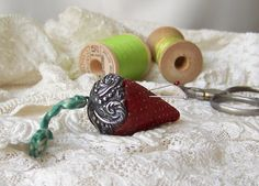 Antique Sterling Pin Cushion Emery Needle by cynthiasattic on Etsy