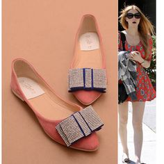 Fall Ultra-comfortable Leather Bow Rhinestones Soft Flat Shoes