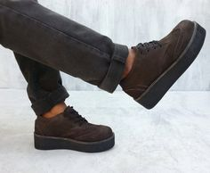 creepers shoes in dark brown leather with wedges sole handmade by Rangkayo