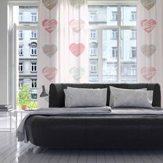"afe images ""Pastel Hearts Pattern"" Pink Red Illustration Decorative Sheer Curtain from KESS InHouse"