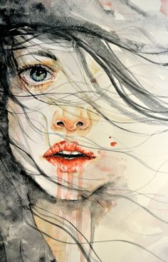 This painting could be interpreted many ways, but there is a raw vulnerability that draws me in. Art Watercolor, Watercolor Portraits, Art Visage, Art Graphique, Love Art, Painting & Drawing, Lips Painting, Amazing Art, Awesome