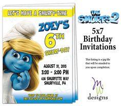 The SMURFS 2 - 5x7 Birthday Invitation - Printable