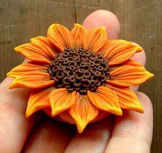 Orange Sunflower Focal Bead handsculpted polymer clay by ZudaGay