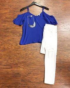 Say Yes to the New Adventures ✔️ ••••Cold Shoulder Blue Top ($43) •Necklace ($12) •Denim ($74) •••Pair with booties; gladiator sandals; clutch; kimono; light shorts; wedges for alternative looks . For immediate assistance or to ORDER call ☎️701-356-5080 (We Ship📦