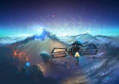 Across The Sea of Stars Artist: Alexander Rommel Science Fiction, Dreamland, Sea Of Stars, Alien Worlds, Across The Universe, Geek Art, Fantasy Landscape, Fantastic Art, Illustrations