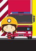 Mujer bombero y camión de bomberos.