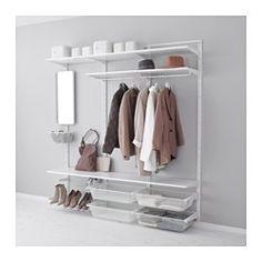 IKEA - ALGOT, Veggskinne/hyller/stang, Delene i ALGOT-serien kan kombineres på mange ulike måter og er derfor enkle å tilpasse etter behov og plass.Du bare klikker hylleknektene inn i ALGOT veggskinner der du vil ha en hylle eller annet tilbehør – helt uten verktøy.Kan også brukes i baderom og våtrom.