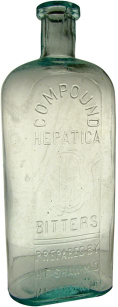 """COMPOUND HEPATICA BITTERS PREPARED BY H.F. SHAW MD MT VERNON ME. Tooled top 8 ½"""". - .jpg"""