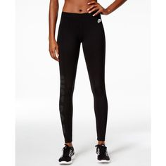 Nike Just Do It Dri-fit Leggings ($45) ❤ liked on Polyvore featuring pants, leggings, nike, dri fit pants, white legging pants, white trousers and legging pants