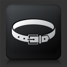 Black Square Button with Belt Icon vector art illustration