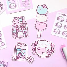 Sakura Cat Vinyl Stickers – LaznyeCreaShop Holographic Foil, Cute Planner, Cherry Blossom, Doodles, Dots, Stickers, Stitches, Cherry Blossoms, Donut Tower