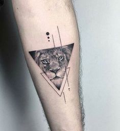 Geometrical style black ink forearm tattoo of triangle with lion portrait lion tattoo Wolf Tattoos, Dreieckiges Tattoos, Lion Arm Tattoo, Lion Forearm Tattoos, Elephant Tattoos, Trendy Tattoos, Small Tattoos, Sleeve Tattoos, Tattoos For Guys
