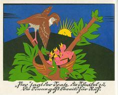 19 ganzseitigen, wunderbaren expressiven farbigen Scherenschnitten von Maria Braun versehen. Es wurde 1925 im Volksvereins-Verlag, Mönchengladbach veröffentlicht.