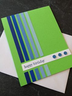 Handsome DIY Birthday Card that uses shades of blue for a cool ombre effect! Find every shade of blue cardstock at www.cardstockshop.com for your next card!