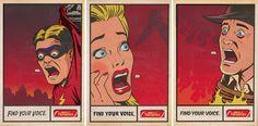 Throaties Poster Campaign - Illustration, comic book, super hero, lichtenstein, halftone, organic paper texture.