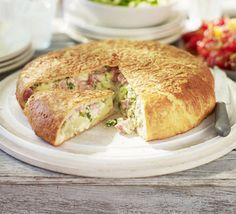 Ham, potato & cheese stuffed loaf recipe, For a casual weekend lunch, bake your own bread stuffed with oozing cheddar Loaf Recipes, Bbc Good Food Recipes, Snack Recipes, Yummy Food, Food Science, A Table, Yummy Treats, Ham, Food And Drink
