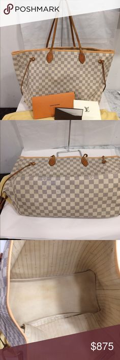 Authentic Louis Vuitton neverfull GM Damier azur Brand new trim done at Louis Vuitton with receipt and dust bag included.no trades.price on posh is firm .on 🅿️🅿️ is $700 Louis Vuitton Bags Shoulder Bags