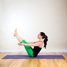 """The infamous lower-belly """"pooch"""" plagues plenty of women, but finding the right moves to target this problematic area is easy. Whether you're a yoga star or gym rat, there's an exercise on this list to suit your taste. Boat Pose (Navasana)"""
