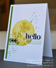 handmade card by Vicky at Crafting Clare's Paper Moments: Wildflower Meadow meets Gorgeous Grunge . circle in yellow with Wildflower Meadow section . splats of green . like this card! Wild Flower Meadow, Washi Tape Cards, Cards For Friends, Card Making Inspiration, Paper Cards, Stamping Up, Flower Cards, Homemade Cards, Stampin Up Cards