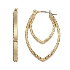 Dana Buchman Textured Double Marquise Hoop Earrings, Women's, Gold