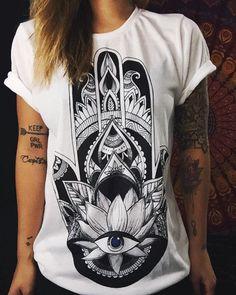 Hamsa Crew Neck Cute Top Shirt Women's Shirt by ElectroThreads