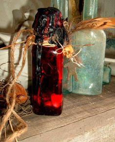 Hoodoo Magick Rootwork: Custom Worked Voodoo #Hoodoo Magick Fiery Wall of Protection Uncrossing Spell Bottle, by Mambo Belle.