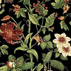 Flora #wallpaper in #black from the Barbados collection. #Thibaut