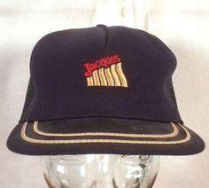 vtg 80s farmer Jacques Seeds Trucker Hat Cap Snapback mesh back navy blue