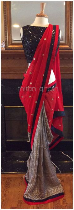 Grey batik print tussar and red georgette half and half saree with black sequined sleeveless blouse by Mitan  Ghosh