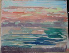 Tableau HSP Ostende  Coucher de soleil  1982 Maud GERARD (1915-2013)