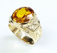 MEN'S 14K SOLID YELLOW GOLD CITRINE RING #CITRINERING #ring #citrine #jewelry #classring