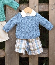Baby's First Aran pattern by Susan Mills Knits - Easy and Fun Baby Boy sweater Baby Boy Sweater, Knit Baby Sweaters, Toddler Sweater, Knitted Baby Clothes, Boys Sweaters, Baby Boy Knitting Patterns, Baby Cardigan Knitting Pattern, Knitting For Kids, Baby Patterns
