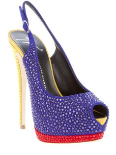 Blue leather slingback pump from Guiseppi Zanotti Design featuring glass bead embellishments, a peep toe, a buckled slingback strap at the ankle, a red platform and a yellow high stiletto heel.