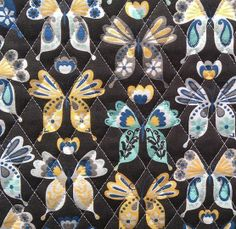 Double Face Quilt Fabric- Aqua & Yellow Large Butterfly