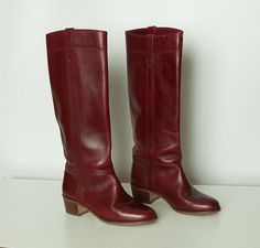 vintage 1970s oxblood red boots by StopTheClock, Etsy