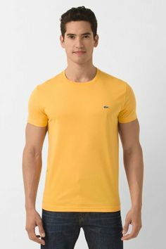 Lacoste Short Sleeve Pima Jersey Crew T-Shirt : 1.) White 2.) Yellow 3.) Paprika Red 4.) Navy Blue