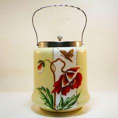 Glas Vase • Gebäckdose • Jugendstil • w. Harrach • um1890 • Handbemalt