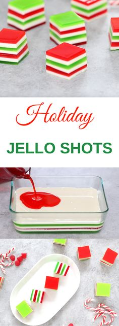 These Holiday Jello Shots are a festive way to celebrate the holidays! They are super delicious and feature tri-color layers of jello infused with vodka. So they are perfect for holiday parties and get-togethers.