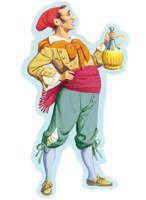 Meo Patacca.Spaccone e prepotente, era romano, di Trastevere, e derivava da Pulcinella. Giacca e calzoni di velluto, portava un berretto che gli lasciava scoperta la fronte e gli cadeva sulla nuca; al collo aveva un fazzoletto. Irascibile e impulsivo, era sempre pronto a menare le mani. Suo compagno inseparabile (come rivale o come amico) era Marco Pepe, anch'egli rumoroso e attaccabrighe.