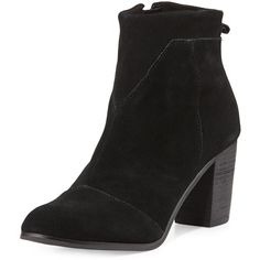 TOMS Lunata Suede Ankle Boot ($129) ❤ liked on Polyvore featuring shoes, boots, ankle booties, black, high heel ankle boots, black wedge bootie, black suede ankle booties, black wedge booties and black ankle boots