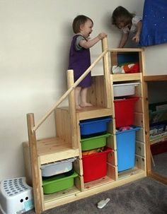 Most likely using bunk beds for the kids and I like this way of getting up to the top bunk... looks safer than the straight stairs.