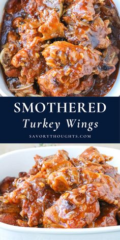 Simple, savory and totally comforting, this Smothered Turkey Wings dish takes tender and juicy turkey wings and smothers them in a moreish homemade gravy. #turkey #turkeywings #smotheredturkey #savorythoughts @Msavorythoughts | savorythoughts.com