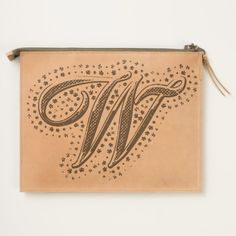 #custom #Cute Themed #gifts #hearttravelpouch #esoticadesigns -  Monogram W Leather Travel Pouch