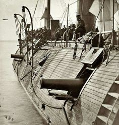 1862. On the James River in Virginia the Federal ironclad Galena.