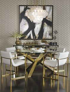 Too much for me, but Black white and gold would lift the dining room. High Fashion Home -- Gold Interior room design art deco Modern Dining Room Ideas Luxury Dining Room, Dining Room Lighting, Dining Room Design, Dining Room Furniture, Dining Room Table, Dining Chairs, Dining Rooms, Furniture Ideas, Dining Area