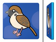 Tree Sparrow Square Coaster / #Tableware #SVGA #Animal #Bird #スズメ