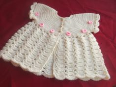 Rosebud baby jacket with tiny crocheted rosebud trim. 0-3 months £15 plus p&p     With matching shoes and headband £25 plus p&p https://www.facebook.com/anneshandmadebabyshoes