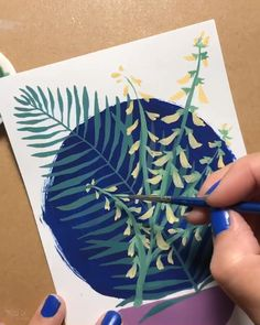 Art video time lapse Gouache painting flowers palm leaves ferns creating art cards # gouache painting flowers Foxgloves at night Small Canvas Art, Diy Canvas Art, Leaf Drawing, Painting & Drawing, Plant Painting, Painting Flowers, Gouache Tutorial, Gouche Painting, Acrylic Art