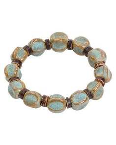 Trades of Hope - Hand-formed clay beads in a beautiful blue-green finish pair with coconut shell rounds on this stretch-fit bracelet.