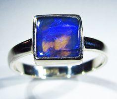 Black Opal Ring size 9.5  Natural black by PamelaFranceAntiques